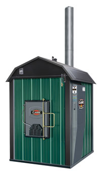 Quality hydronic woodstove boiler for exterior installation. Photo courtesy of Central Boiler