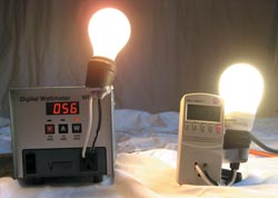 Two identical 800 lumen output lamps. The incandescent lamp on the left requires 56 watts to power, while the compact-fluorescent lamp on right requires only 11 watts.