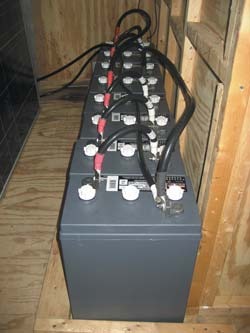 Solar trailer battery bank consisting of eight (8) L-16 size 6 volt batteries.