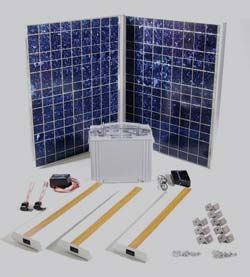 Prepackaged solar lighting kit including solar modules, charge controller, fuses, DC lighting, and sealed battery