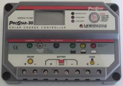 The 30 amp DC Morningstar solar charge controller also includes load wiring terminals and a low-voltage safety disconnect to prevent battery damage.