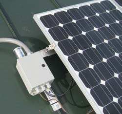 Typical solar module to combiner box wiring. Note lightning arrestor.
