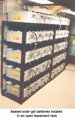 Sealed solar gel batteries located in an open basement rack.
