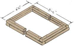 We use landscape timbers around our raised beds. The depth of two horizontal timbers works for us, but some folks might only want one and others might even go to three. As time goes on, soil will build up around the bottom layer. Timbers are about 4 inches in diameter and we use 6-inch nails to keep them stationary. (Illustration, James 0. Yeager)