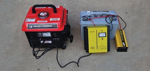 Battery charger and generator charging RV/marine battery with 120-volt AC inverter