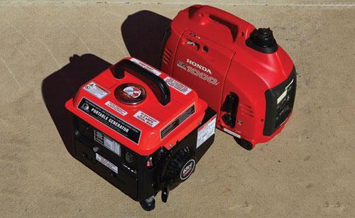 900-watt peak Storm Cat and 1000-watt peak Honda generators