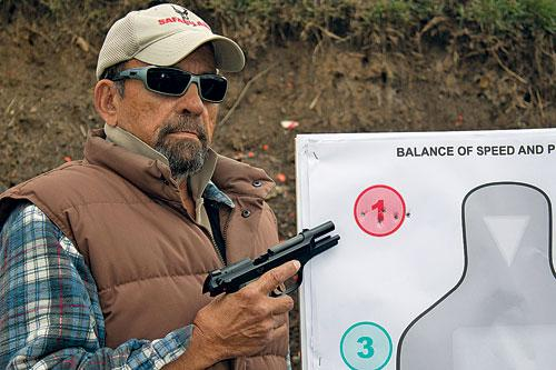 Capability of accurate shooting will be critical in such a situation. Here, fast brain-shot-size groups are practiced from 15 yards with Wilson Combat Beretta Compact Carry 9mm pistol.