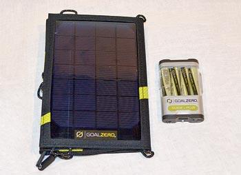 This 7-watt Goal Zero solar module comes with multi-battery charger.