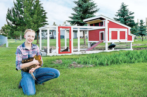 Brianna with her chicken tractor