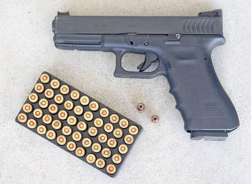 Typical Glock 17 police pistol holds 18 9mm cartridges and is issued with two more 17-round magazines, for a total of 52 rounds on officer's person. Why should armed citizen face the same criminals as cops, with less firepower?