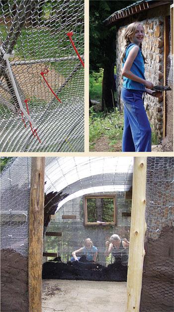Using plastic zip ties made it much easier to attach the dense mesh to the frame. Of course, we cut off the long tails before plastering. The plastering was hard work, but the kids especially loved to help.