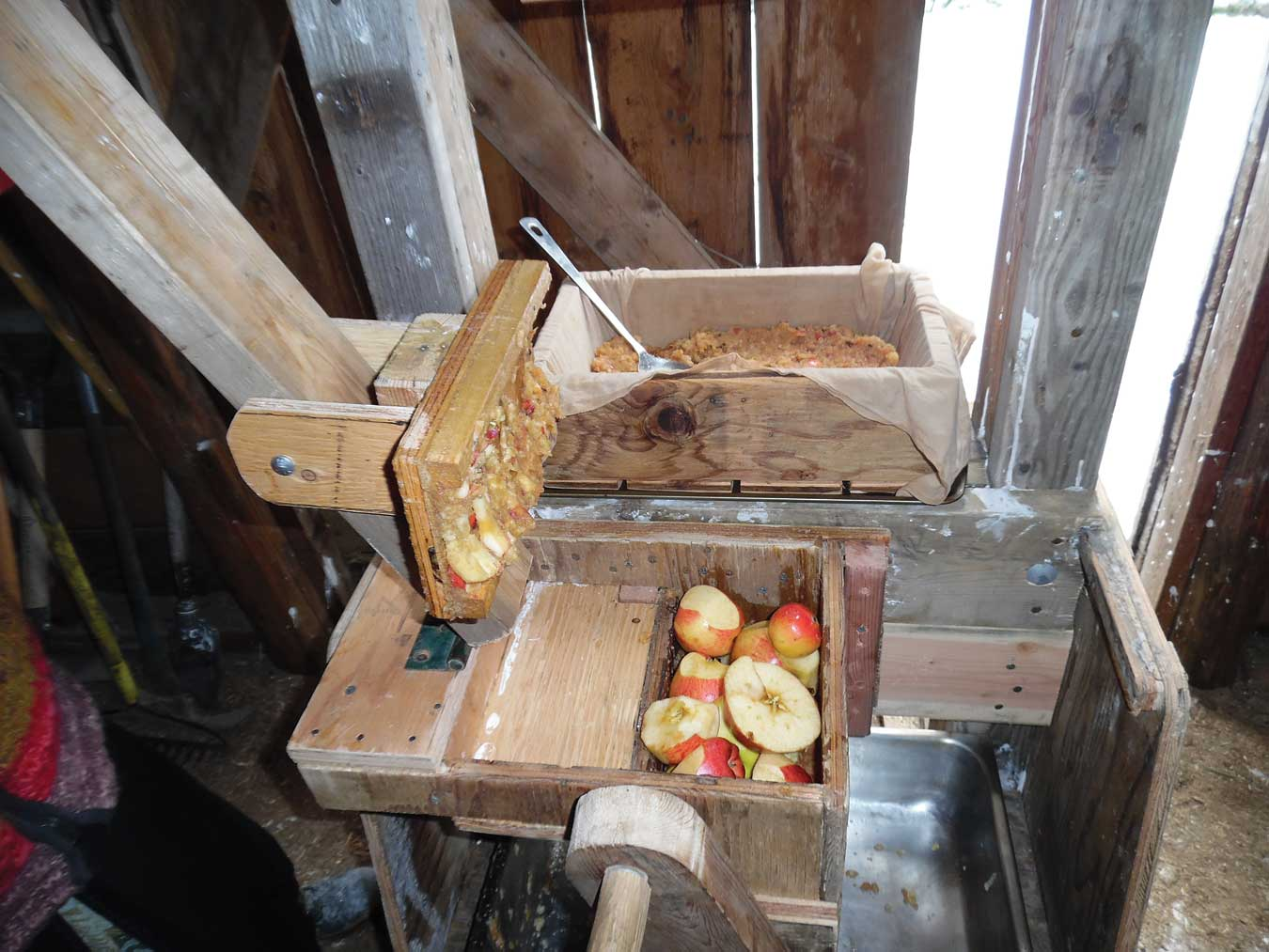 using the homemade press for cider