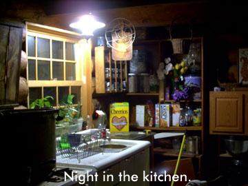 The kitchen at night.