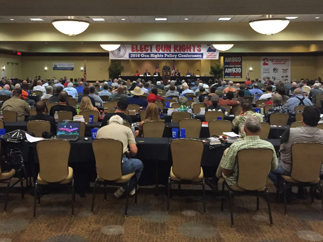 Photo of the audience and the stage from the Gun Rights Policy Conference 2016