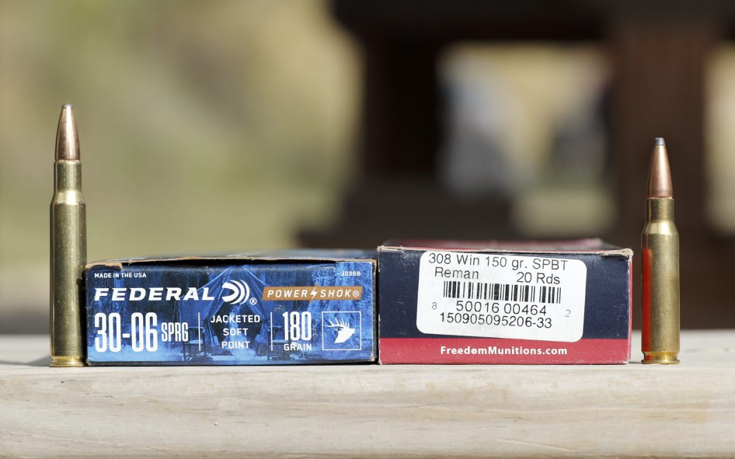 A Box and a cartridge of each, 30-06 and .308 ammunition