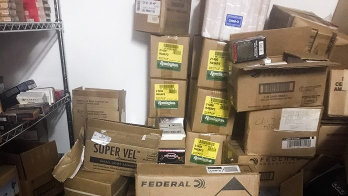 Cases of ammo in storage