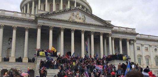 Photo of rioters storming the capitol