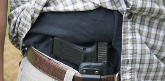 A Glock Handgun in an appendix holster