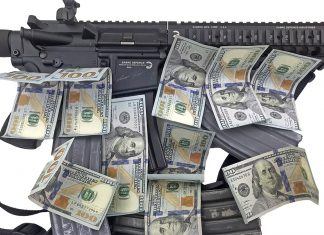 AR-15 Rifle with Magazines and $100 bills